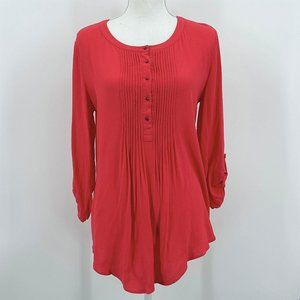 Daniel Rainn Red Pintuck Roll Tab Sleeve Blouse